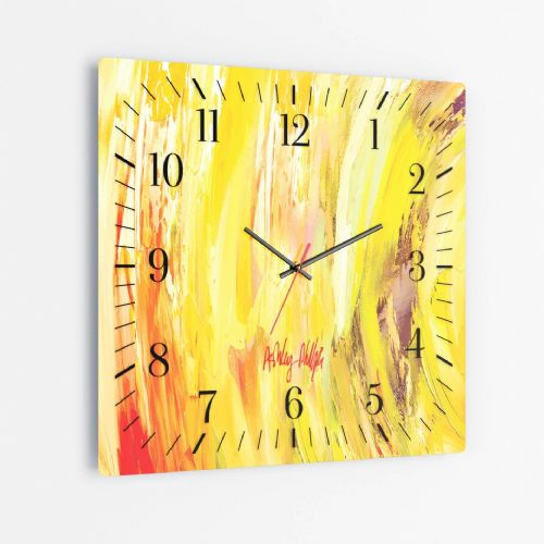 Sonic Wave Yellow - Square Glass Clock